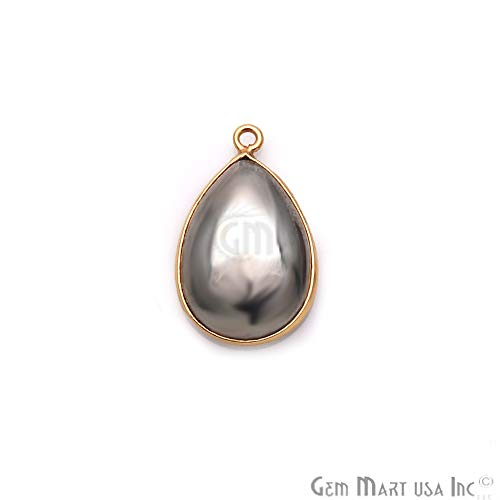 (Pyrite Cabochon Connector, Gemstone Connector, Pears Shape 13x18mm Gold Plated Single Bail (PY-10856))