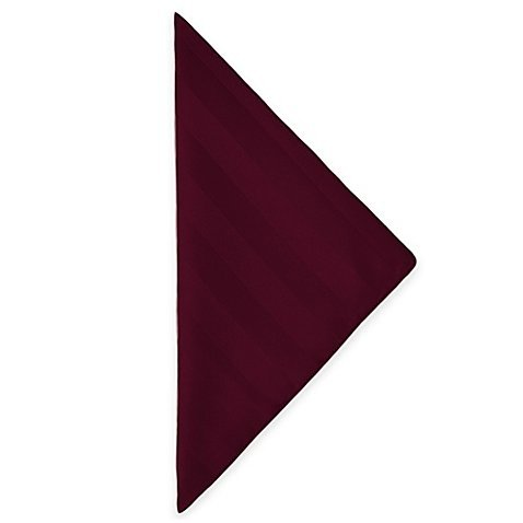 Ultimate Textile (5 Dozen) Satin-Stripe 20 x 20-Inch Cloth Dinner Napkins - for Wedding and Catering, Hotel or Home Dining use, Burgundy Red