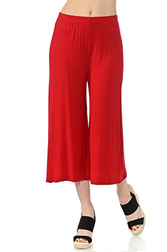 Wide Waist Crop Pant - iconic luxe Women's Elastic Waist Jersey Culottes Pants Medium Red