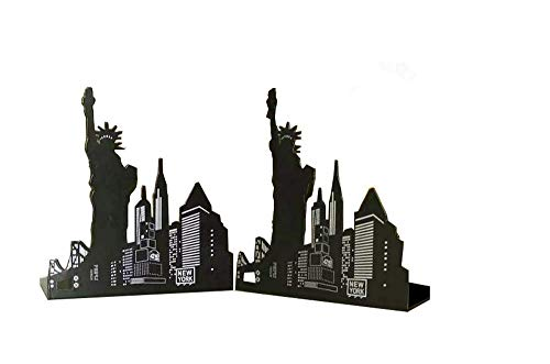 Leoyoubei Art bookends,European American Architecture Landmark Theme Style clip file books,School office gift Books Holder, black 1 pairs (New York Statue Liberty) by Leoyoubei