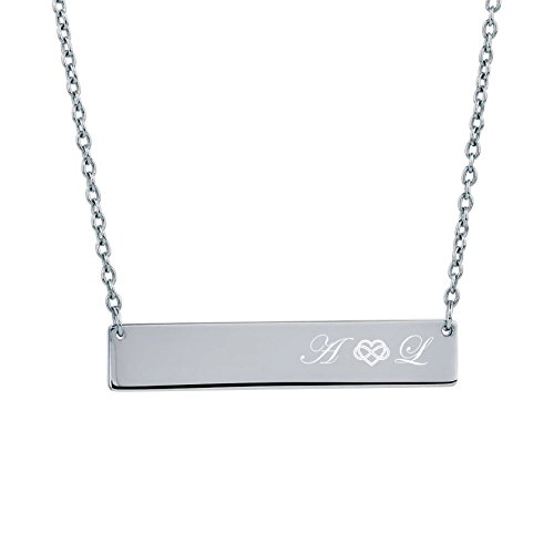 Personalized Sterling Silver Monogrammed Name Bar Necklace Charm & Chain Nameplate Engraved FREE