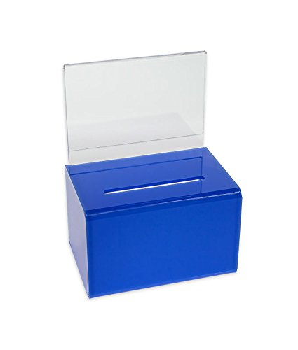 Blue Donation Box w/Sign Holder and Lock by SourceOne