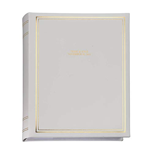 Fox Valley Traders Personalized Ultimate Wedding Top-Grain White Leather Memo Photo Album - Book Bound, Holds 300 4x6