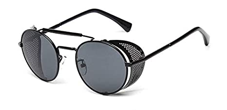 Amazon.com : Haressu - Retro Steampunk Sunglasses Round ...