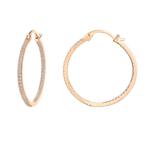 PAVOI 14K Gold Plated 925 Sterling Silver Post Cubic Zirconia Hoop Earrings | Large Rose Gold Hoops