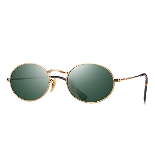 2020Ventiventi Unisex Vintage Gold Frame/Green Lens Oval 50mm Polarized Small Metal Sunglasses 17032C01 (Sunglasses Oval)