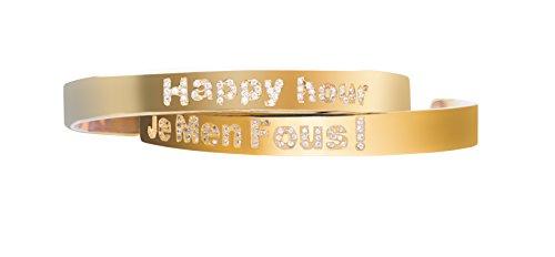 Maha lozi (en argent sterling avec Plaqué Or Jaune 18Carats Bracelet jonc avec hashtags Happy Hour