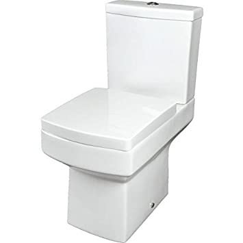 Modern Toilet Close Coupled WC Short Projection Soft Close Seat Curved Bathroom Cloakroom White Gloss Ceramic