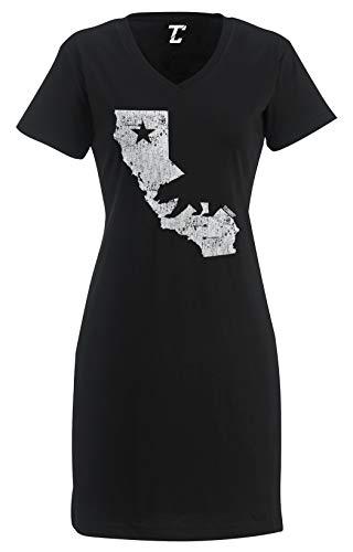 Tcombo California State Map - Cali Bear Women's Nightshirt (Black, Small/Medium)