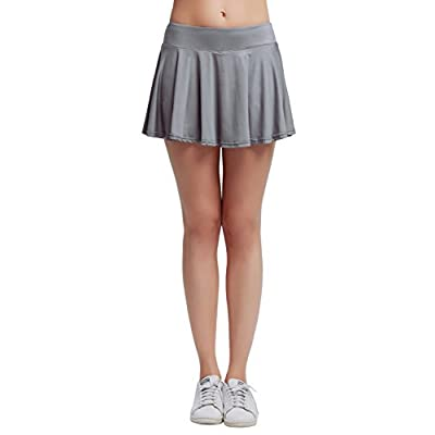 HonourSport Women Cute Cheerleading Skirt Casual Pleated Flare Skort with Pockets at Women's Clothing store
