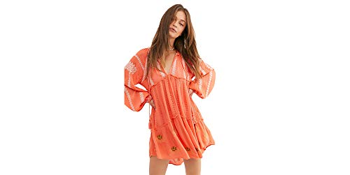 - Free People Wild Horses Embroidered Mini Dress (Coral Red) (S)