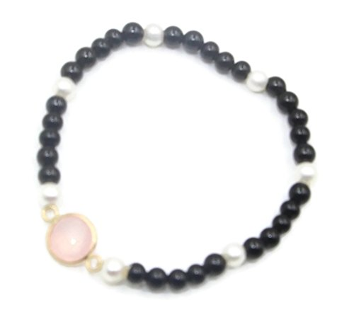 Black Onyx & Freshwater Pearl with Chalcedony 6