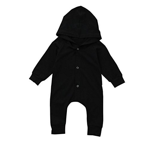 Clearance Sale Infant Baby Boy Girl Outfits Solid Color Hoodie Romper Jumpsuit Pajamas Clothes (0-6M, Black)