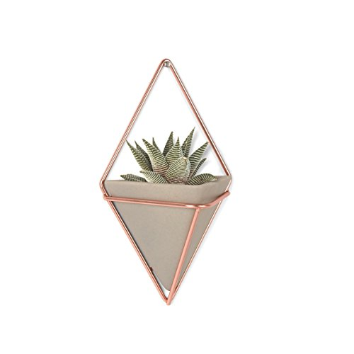 Umbra Trigg Hanging Planter Vase & Geometric Wall Decor Container - Great For Succulent Plants, Air Plant, Mini Cactus, Faux Plants and More, Concrete Resin/Copper (Set of 2)>