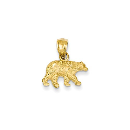 Jewelry Stores Network 14K Yellow Gold Solid Textured Bear Pendant (14k Gold Fashion Bear)