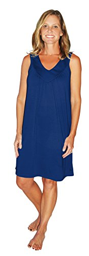 Moisture Wicking Gathered Tank Nightgown (S-2X) (Small(4/6), Navy) (Gathered Nightgown)
