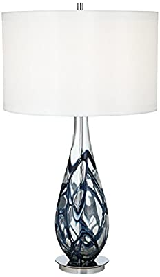 Pacific Coast Lighting Indigo Swirl Art Glass Table Lamp in Blue
