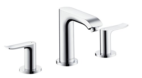 - hansgrohe Metris 3-hole basin tap with pop up waste, chrome 31083000