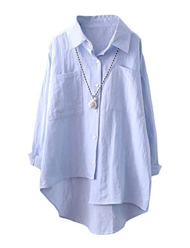 - Mordenmiss Women's Linen Shirt Blouse Casual Button-Down Hi-Low Tunic Tops (XXL, Style 2-Sky Blue)