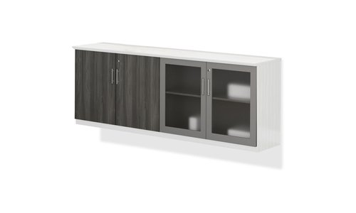Mayline Medina Series Low Wall Cabinet with Doors, 72w x 20d x 29 1/2h, Gray Steel, Box2