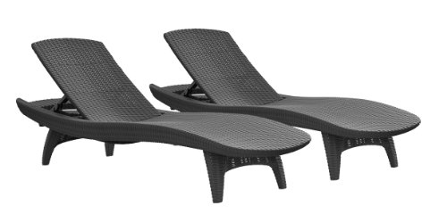 Keter Pacific 2 Pack All Weather Adjustable Outdoor Patio Chaise Lounge  Furniture, Graphite