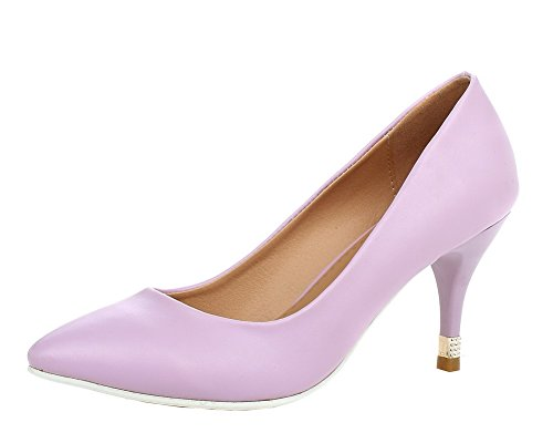 Femme Talon Violet Pointu Unie AgooLar Chaussures Légeres PU Correct à Couleur Cuir gqqdyE