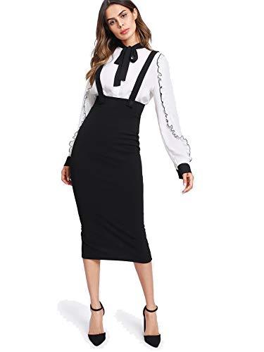 Milumia Women Strap Slit Back High Waist Pencil Bodycon Suspender Pinafore Skirt Black - Waist Skirt Suspender Pencil High