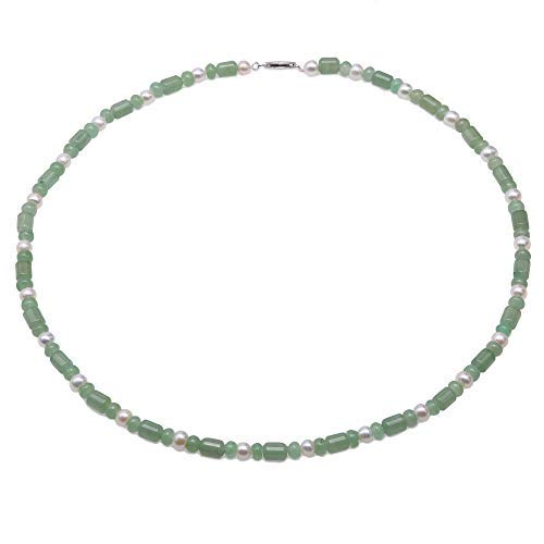 (JYX Gemstone Jewellery Jade Necklace 6×7.5mm Irregular Green Jade Stone Necklace with 6mm White Pearls for Women 22