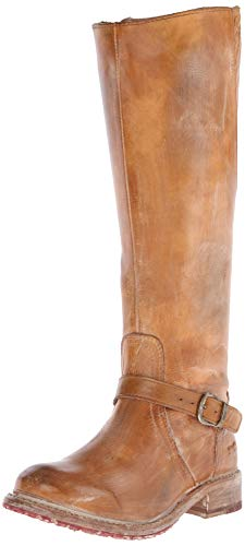 BED STU Women's Glaye Motorcycle Boot, Tan Rustic/White, 8 M US