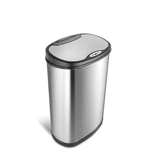 Ninestars Automatic Touchless Motion Sensor Oval Trash Can with Black Top, 13 Gal. 50 L, Stainless Steel