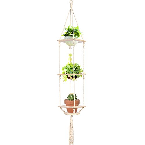 KINDEN Macrame Plant Hanger - Wooden Hanging Planter Stand Pine Shelf with Decorative Beads Bohemian Home Decor Flower Pot Holder for Succulent, Cacti, Herbs, Plants, Cotton Cord, 3 Tier