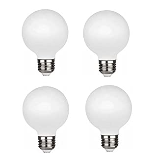 KGC LED Edison Globe Light Bulb, Warm White 2700K CRI 95, LED Filament Light Bulb, 4.5W Equivalent to 40W, G80 Dimmable 450LM E26 Base, Bathroom Vanity Mirror Light,Frosted Glass (G80-2700K-4Pack)
