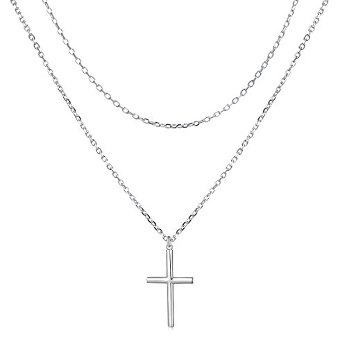 Sterling Silver Jewelry Double Layered Cross Pendant Necklace Dainty Faith Hope Love Choker for Women Girls