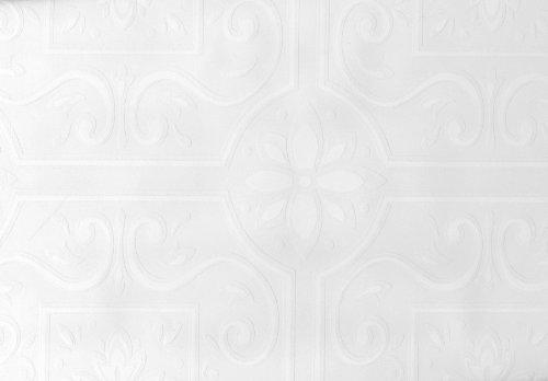 Tin Tile Wallpaper - Brewster Emser Scrolling Floral Tile Paintable Wallpaper Paintable