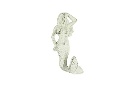 Cast Stone Sinks (Handcrafted Decor K-516-W Whitewashed Cast Iron Mermaid Hook, 6 in.)