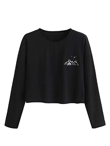 MAKEMECHIC Women's Letter Print Crop Tops Casual Long Sleeve Tees Black M