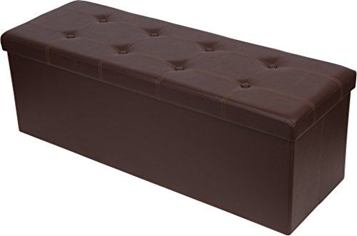 Trademark Innovations 3.6 Folding Storage Ottoman and Bench Seat Brown, Faux Leather