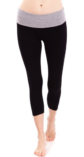 (Women's Slimming Foldover Capri Crop Yoga Pants,Heathergrey/Black,Medium)