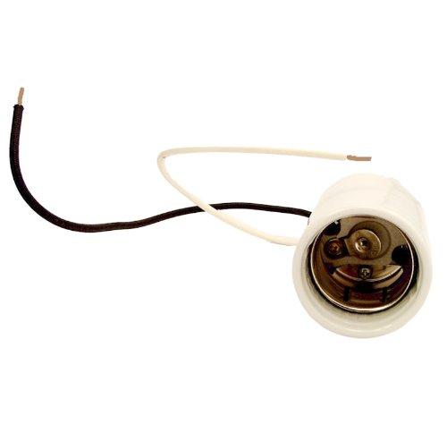 - Leviton 8756-2 Mogul Base, One-Piece, Keyless, HID, Glazed Porcelain Lampholder, HPS up to 400W, Single Circuit, Back Wired, 4KV-Pulse Rated, White