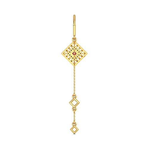 Or jaune 18K 0.16CT TW White-diamond (IJ | SI) et rubis Boucles d'oreille