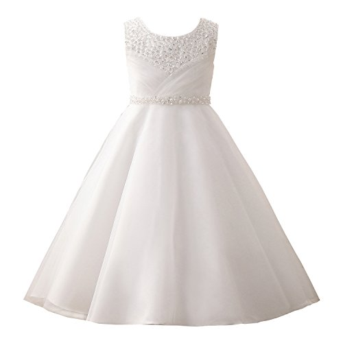 (Castle Fairy Girls' First Communion Organza Sequin Pearls Flower Girl Dress with Train Size 12, White)