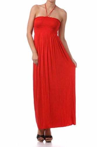 Halter Dress Bodice (Sakkas 5026 Comfortable Jersey Feel Solid Color Smocked Bodice String Halter Maxi/Long Dress - Red/Medium)