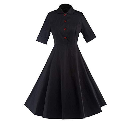 ADTYR Gift 2018 Europe Station Hot 50s Hepburn Short Sleeve Dress Solid Color Waist Foreign Trade Vintage Skirt