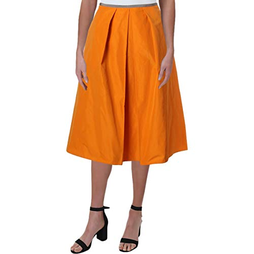 - Jil Sander Navy Womens Woven Knee-Length Pleated Skirt Orange 38