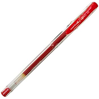 Uni-ball Signo UM-100 0.5mm Gel Ink Rollerball Pen, Red (10 pcs Box)