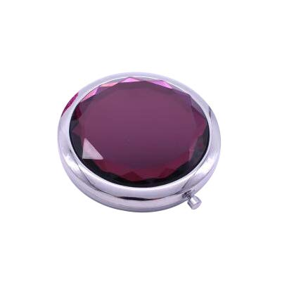 KSWD Colorful Crystal Vanity Mirror, Makeup Mirror Mini 2X Magnification Double Sided Round Cosmetic Mirror, 7cm,J from KSWD