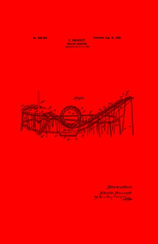 Framable Patent Art Original Roller Coaster Enthusiast 11in by 17in Patent Art Poster Print Red PAPSSP172R from Framable Patent Art