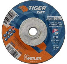 58071 1//4 in Thick Type 27 Zirconium Grinding Wheel 4 1//2 in Diameter 24 GRIT 7//8 in Center Hole WEILER Tiger Standard