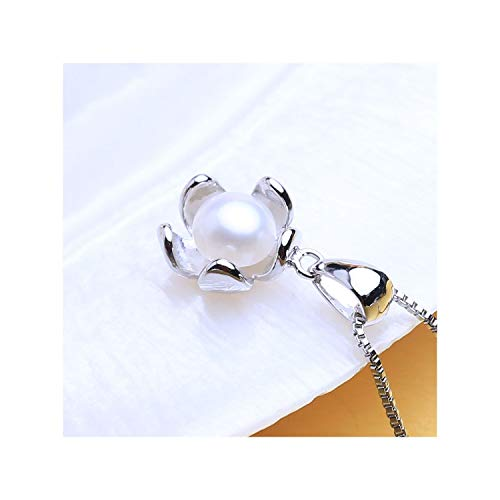 Pearl Jewelry Natural Freshwater Pearl Necklace for Women 925 Sterling Silver Cute Flower Pendant with 6-7mm Pearl,White