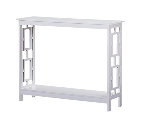 White Finish 2-Tier Square Design Occasional Console Sofa Table Bookshelf